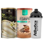 Kit Veggie Whey Baunilha + VeganPro Cacau 550g + Bottle