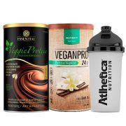 Veggie Whey Cacau + VeganPro Baunilha 550g + Bottle