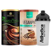 Kit Veggie Whey Cacau + VeganPro Cacau 550g + Bottle
