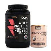 Kit Whey Concentrado Dux 900g Baunilha + Supercoffee 250g