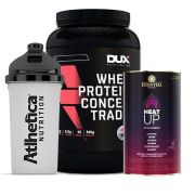 Whey Protein 900g Morango + Heat Up 140g  + Bottle