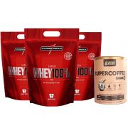 Super Whey 100% 900g Chocolate 3 Un + Supercoffee 220g