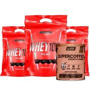 Super Whey 100% 900g Chocolate 3 Un + Supercoffee 2.0 220g