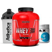 Whey 3w 1.8Kg Morango + Glutamina 300g Max + Bottle 500ml