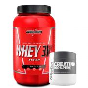 Super Whey 3W 900g Morango + Creatine 100% Pure 100g