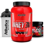 Whey 3w 900g Morango + Neuro Xtreme Laranja + Bottle 500ml