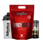Super Whey 900g Morango + Bcaa Platinum 60 Caps  + Bottle