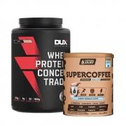Supercoffee Vanilla Latte 220g e Whey Concentrado Dux Coco 900g