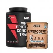 Supercoffee  Vanilla Latte 220g e Whey Concentrado Dux Morango 900g