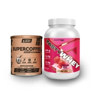 Tasty Whey 2 Lbs Morango e Supercoffee 220g