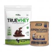 True Whey Concentrado Chocolate 900g e Supercoffee Choc