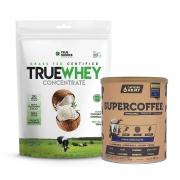 True Whey Concentrado Coconut 900g e Supercoffee Choc