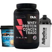 Whey Concentrado 900g Choc + Vitapower 1kg Integral + Bottle