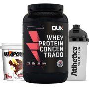 Whey Concentrado 900g Choc + Vitapower 1kg Shot + Bottle