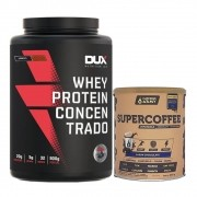 Whey Concentrado Cookies 900g e Supercoffee 220g Chocolate