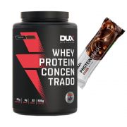 Whey Concentrado Dux 900g Chocolate + Proteinsnack Choc