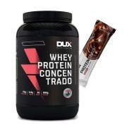 Whey Concentrado Dux 900g Morango + Proteinsnack Choc