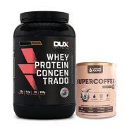 Whey Concentrado Dux 900g Morango + Supercoffee 220g