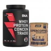Whey Concentrado Morango 900g e Supercoffee 220g Chocolate