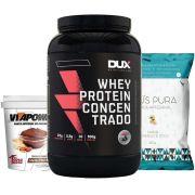 Whey Protein 900g Baunilha + Vitapower Cacau + Pipoca C/