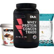 Whey Protein 900g Baunilha + Vitapower Press Cream + Pipoca C/