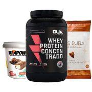 Whey Protein 900g Baunilha + Vitapower Press Cream+ Pipoca F