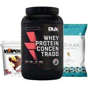 Whey Protein 900g Baunilha + Vitapower Shot + Pipoca C/