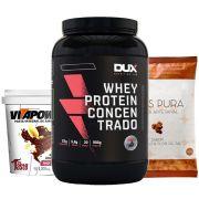 Whey Protein 900g Baunilha + Vitapower Shot + Pipoca F