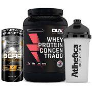 Whey Protein 900g Chocolate + Bcaa Platinum 60 Caps + Bottle