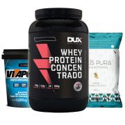 Whey Protein 900g Chocolate + Vitapower Integral + Pipoca C/