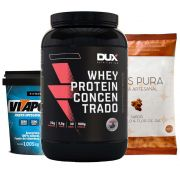 Whey Protein 900g Chocolate + Vitapower Integral + Pipoca F