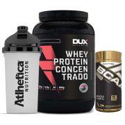 Whey Protein 900g Morango + Bcaa 90 Caps + Bottle 500ml