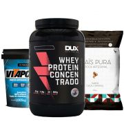 Whey Protein 900g Morango + Vitapower Integral + Pipoca