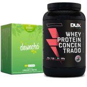 Whey Protein Concentrado 900g Morango + Desinchá 60 Sachês