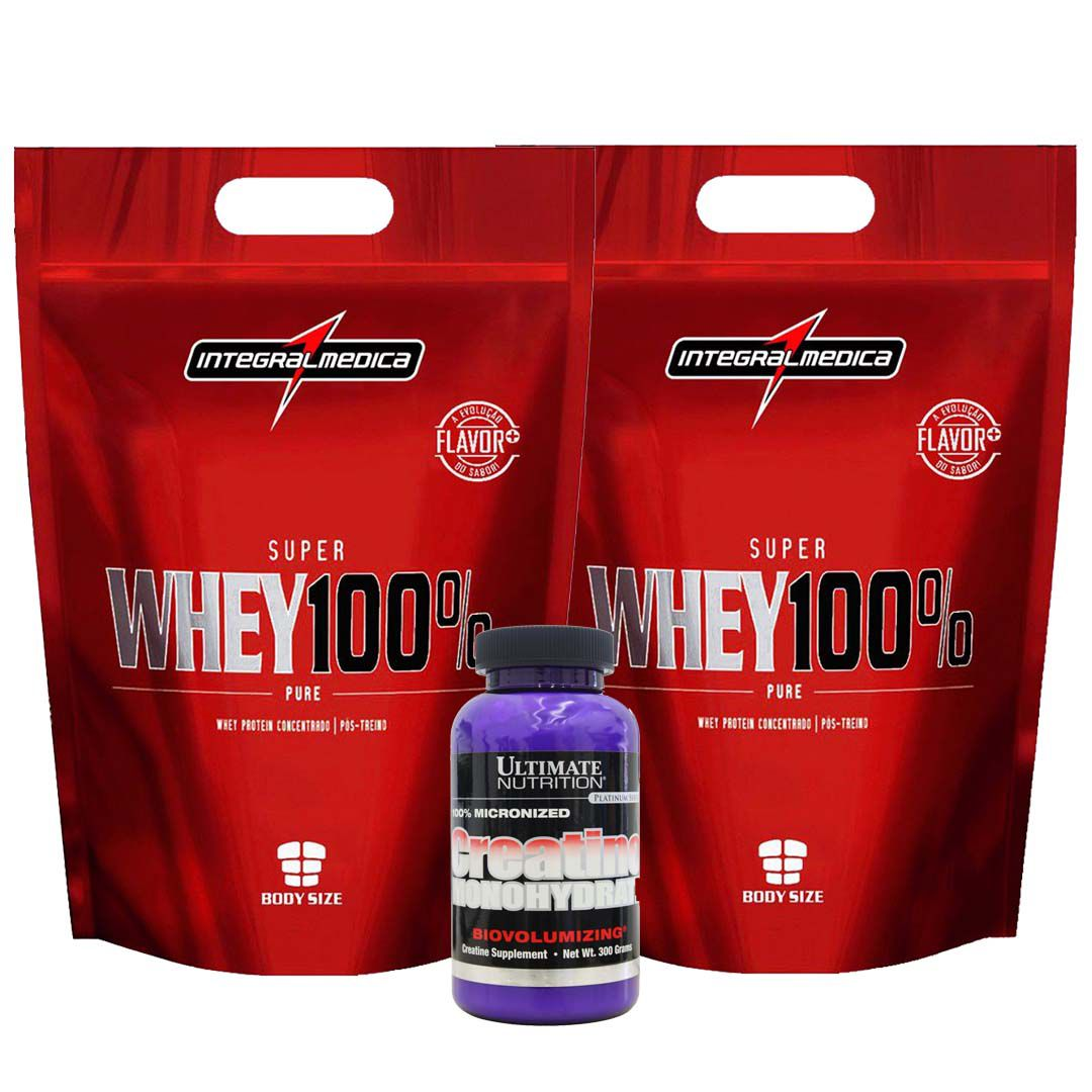 2 Un Super Whey 900g Morango + Creatina 300g  - KFit Nutrition