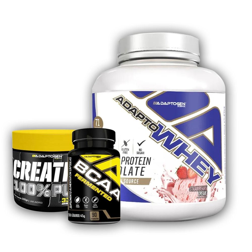 Adapto Whey Srawberry 5 LBS + Creatina 100G + Bcaa 90 Caps  - KFit Nutrition