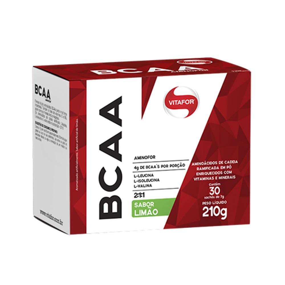 BCAA Aminofor 30 Sachês Limão - Vitafor  - KFit Nutrition