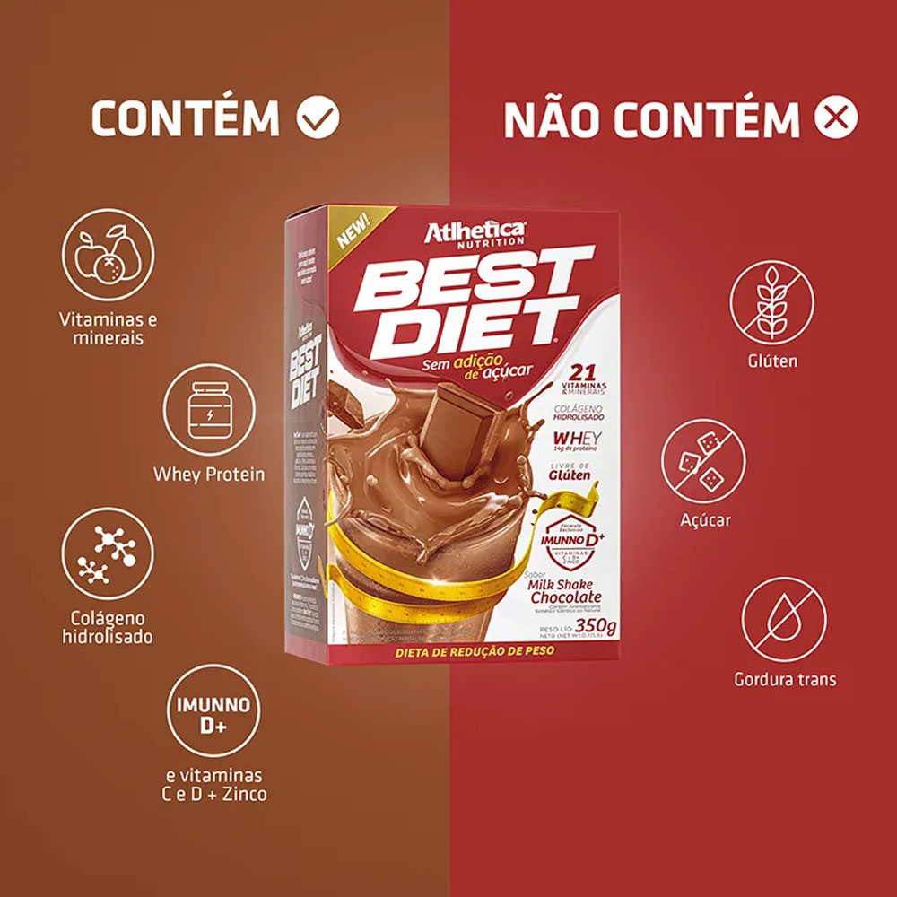 Best Diet 350g Milk Shake Chocolate - Atlhetica  - KFit Nutrition