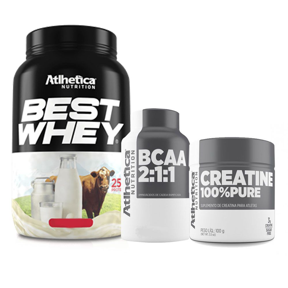 Best Whey Morango 900g + Bcaa 60 Caps + Creatina 100g  - KFit Nutrition