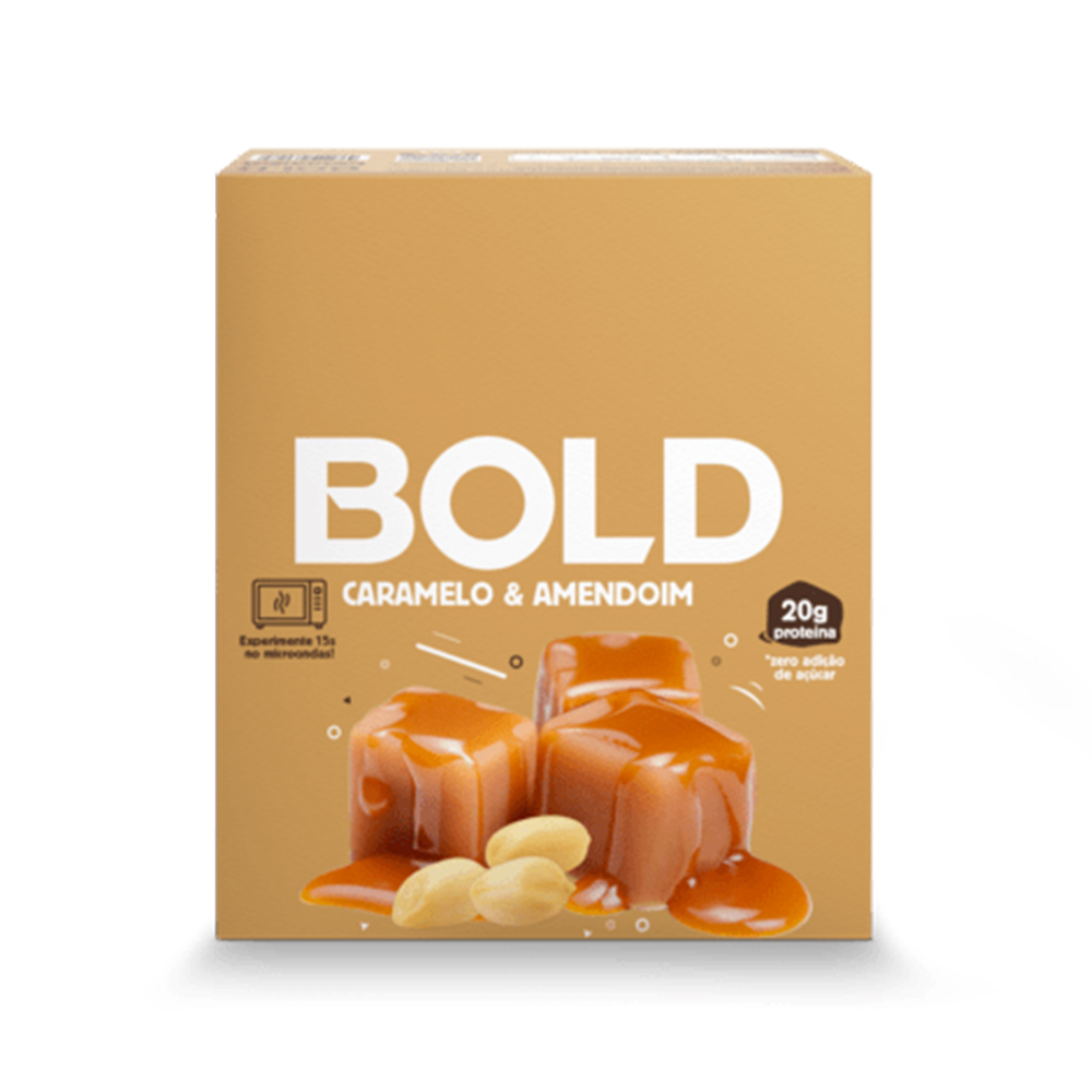 Bold Bar Caramelo e Amendoim Nova Fórmula Cx 12 Un 720g  - KFit Nutrition