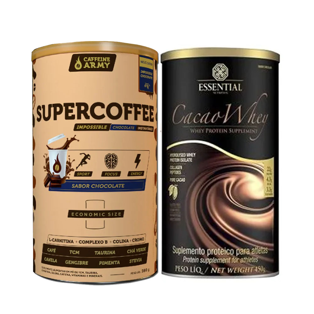 Cacao Whey 450G e Supercoffee 2.0 Economic Size 380g  - KFit Nutrition