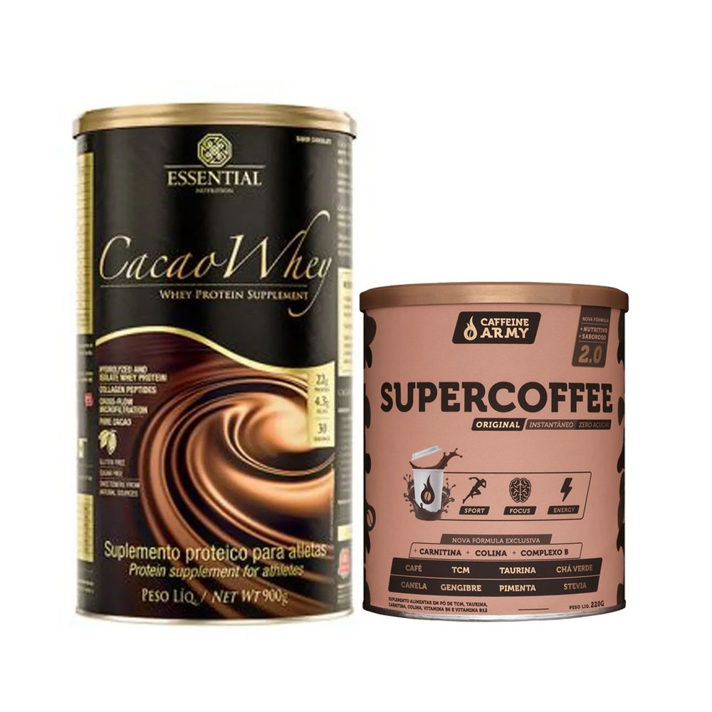 Cacao Whey 900g e Supercoffee 220g 2.0  - KFit Nutrition