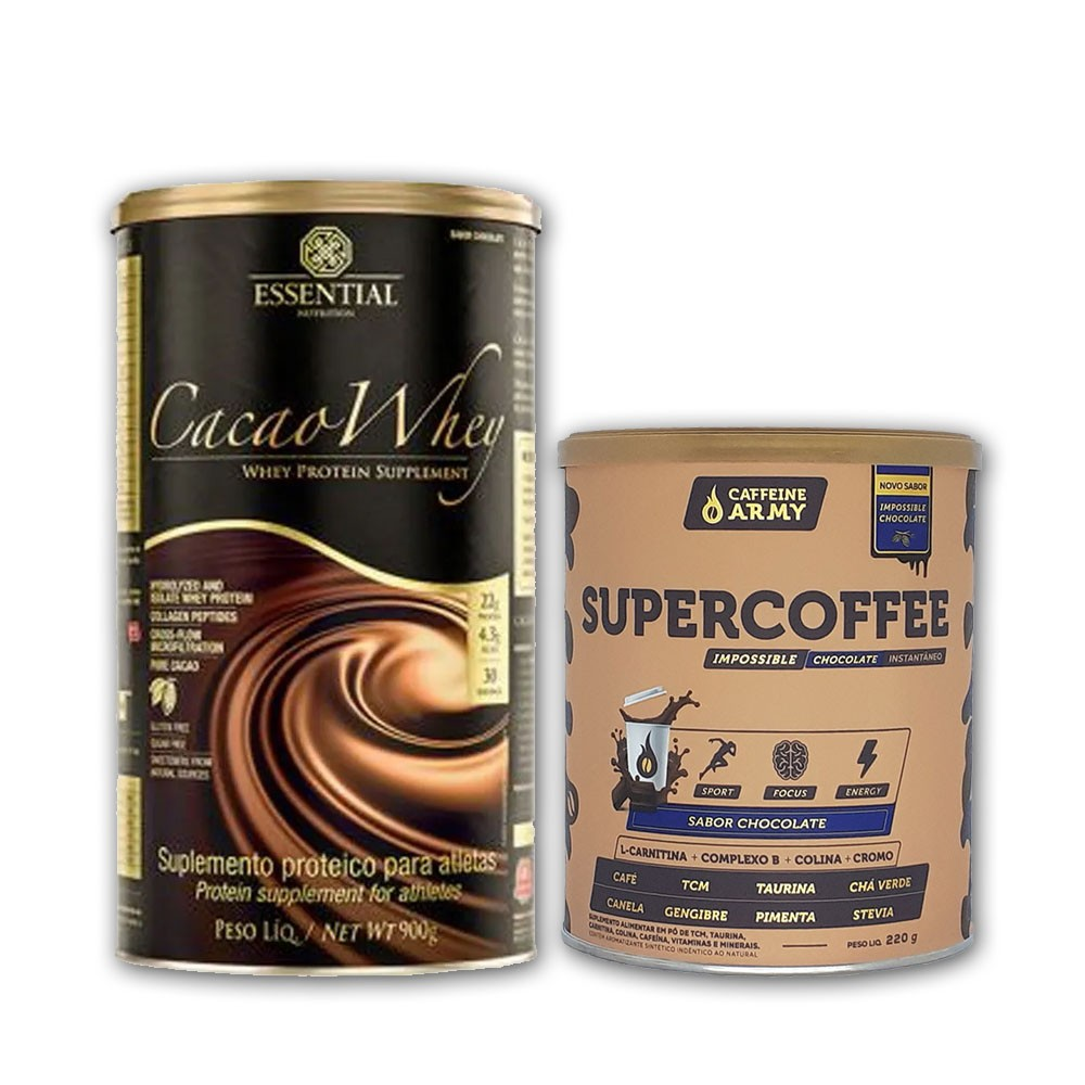 Cacao Whey 900g e Supercoffee Chocolate 220g  - KFit Nutrition