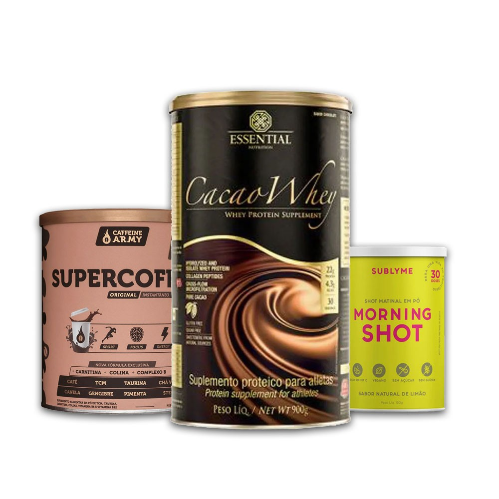 Cacao Whey 900g + Supercoffee 2.0  + Morning Shot Lata  - KFit Nutrition