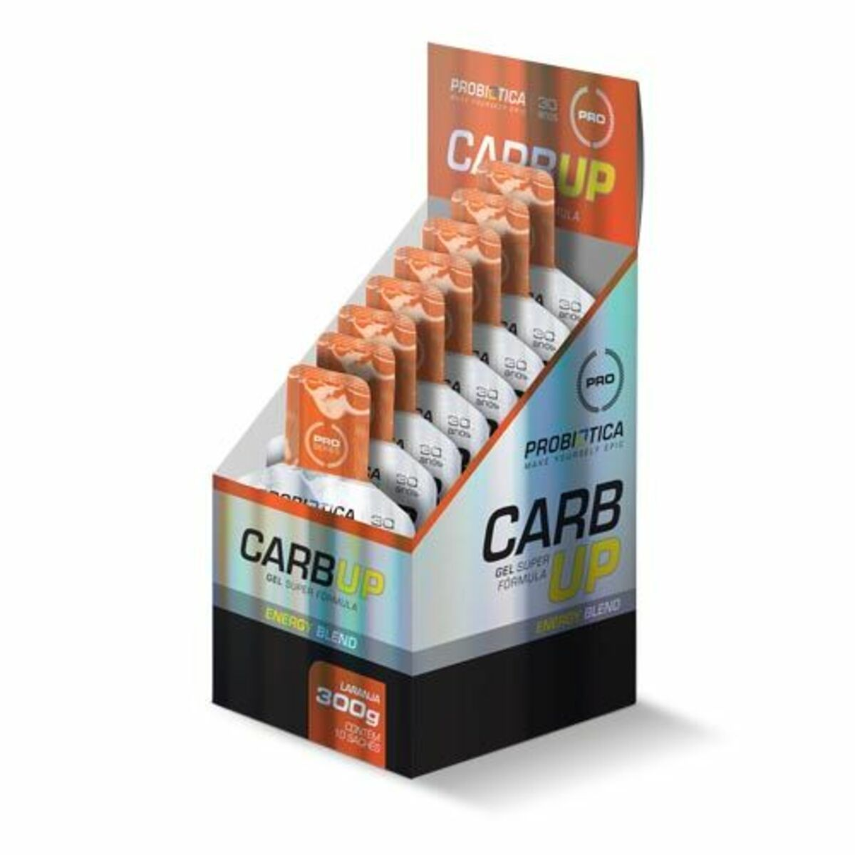 Carb Up Black Gel Caixa 10 Sachês de 30g Probiótica Laranja  - KFit Nutrition