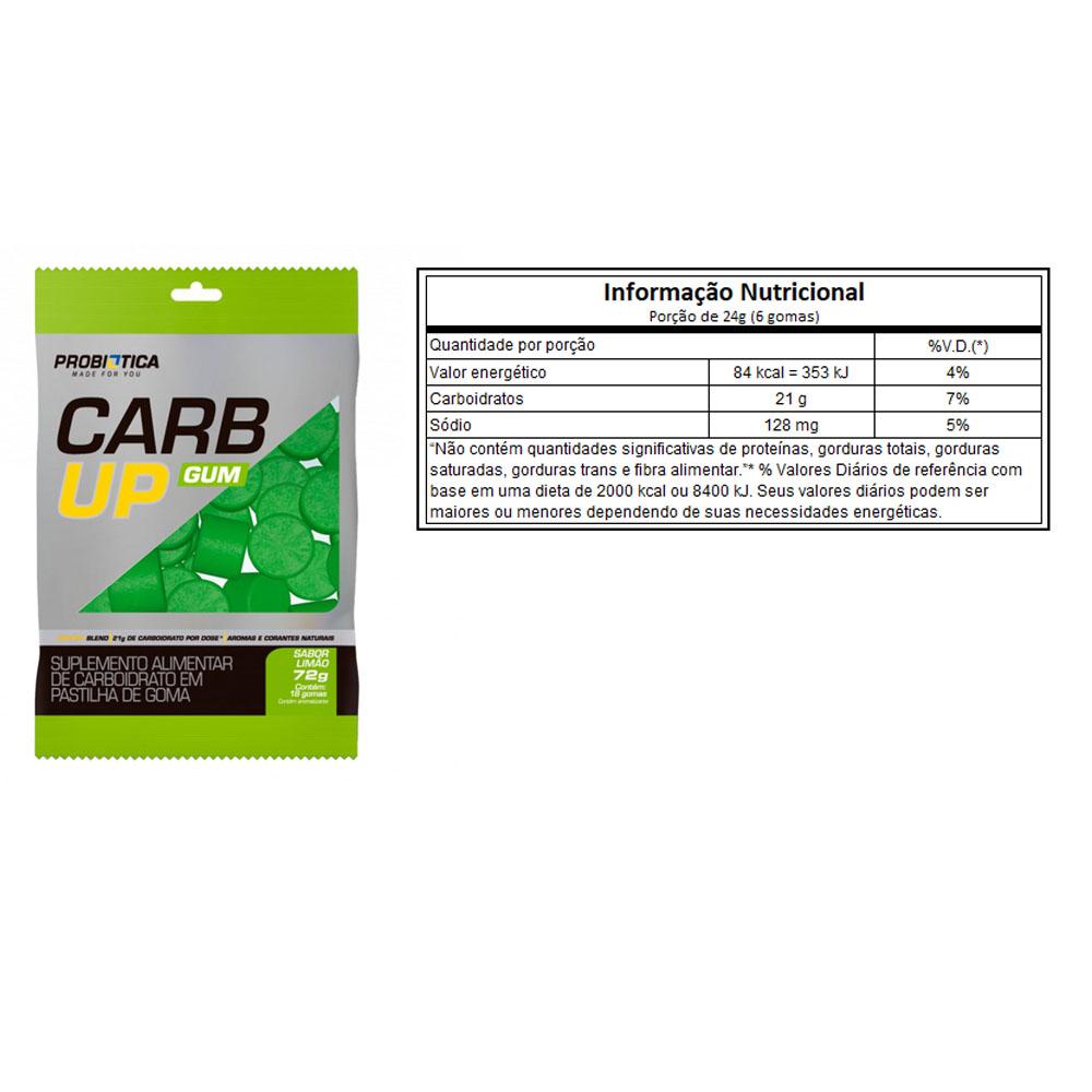 Carb Up Gum 18 Pastilha em Goma Limão - Probiótica  - KFit Nutrition