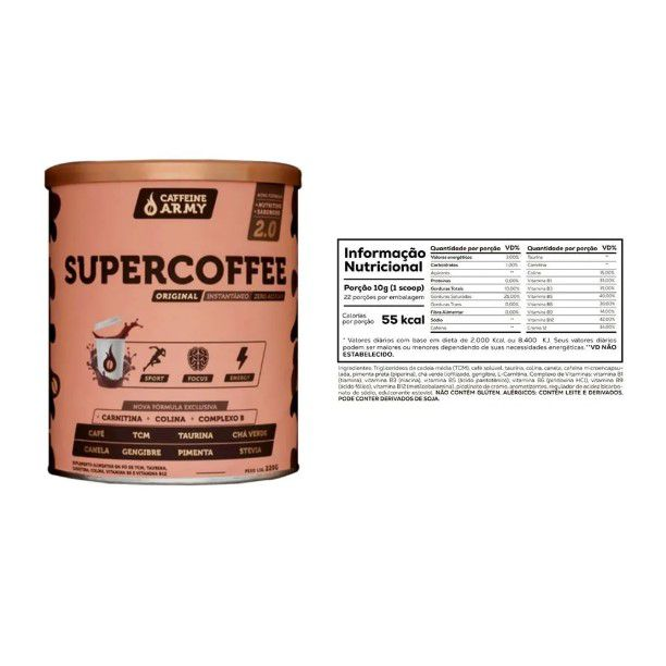 Chá Tulsi Camomila e Mel 25 Sachês + Supercoffee 220g  - KFit Nutrition