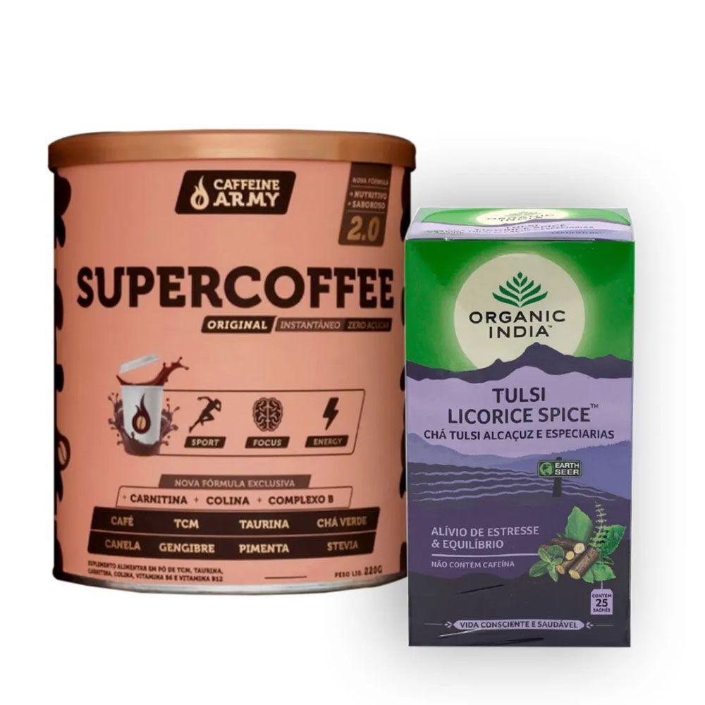 Chá Tulsi Licorice Alcaçuz 25 Sachês + Supercoffee 220g  - KFit Nutrition