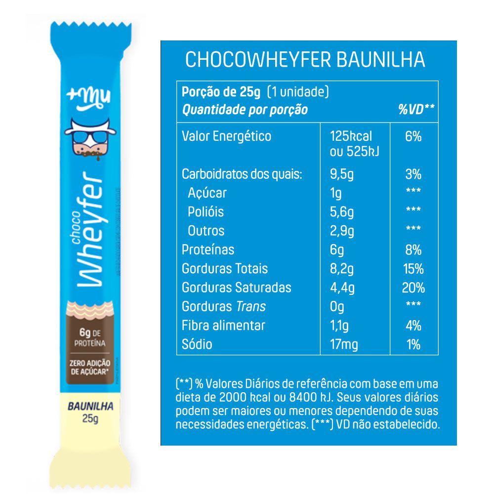 Choco Wheyfer Sabor Baunilha 25g +Mu Cx 12Un  - KFit Nutrition