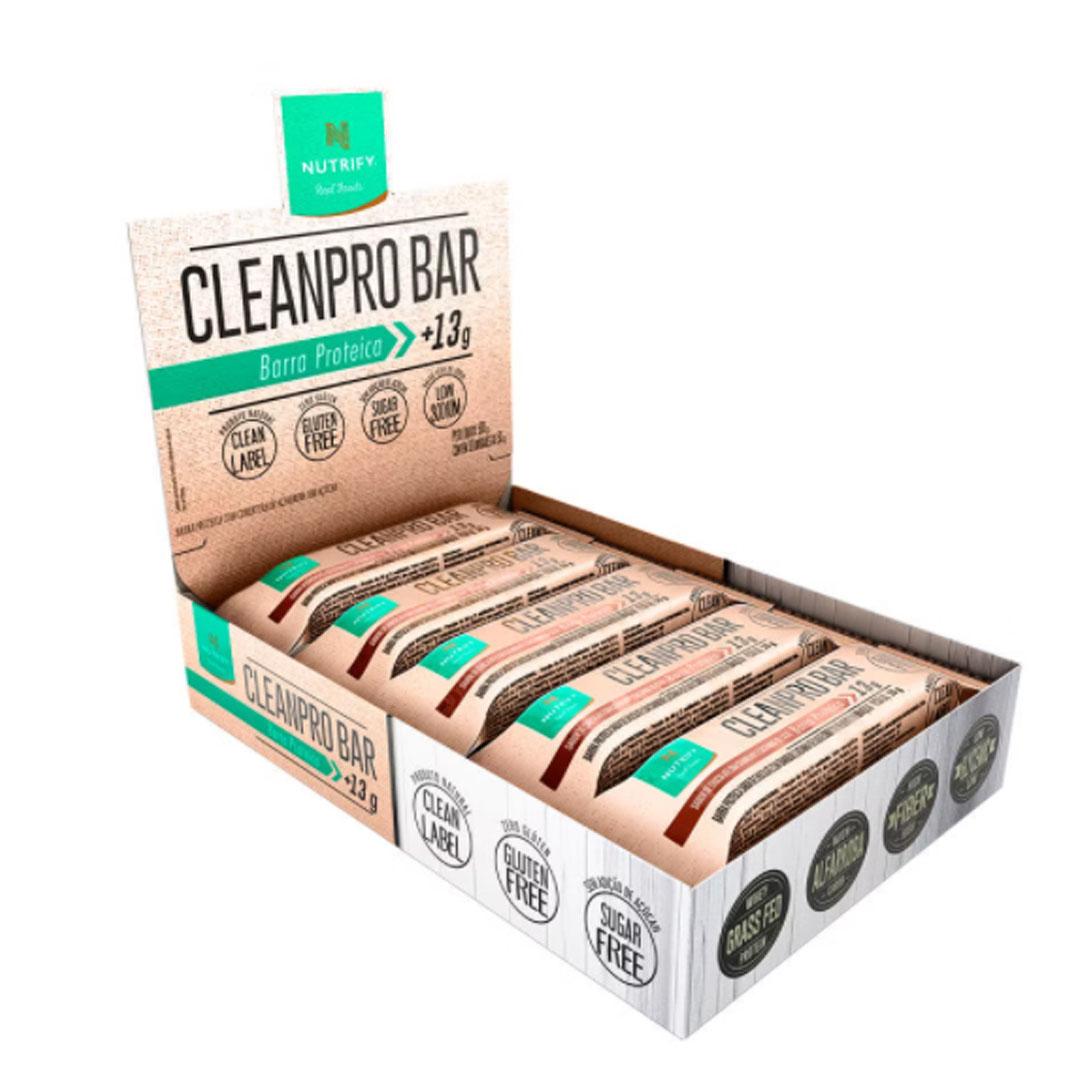 Cleanpro Bar Chocolate C/ Cranberry Castanha de Caju Cx 10un 500g - Nutrify  - KFit Nutrition